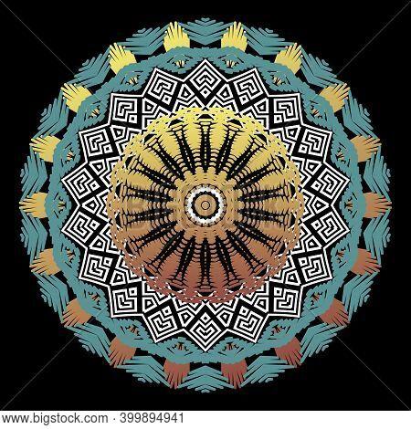 Textured Tapestry Round Mandala Pattern. Colorful Grunge Floral Greek Background. Vector Tribal Ethn