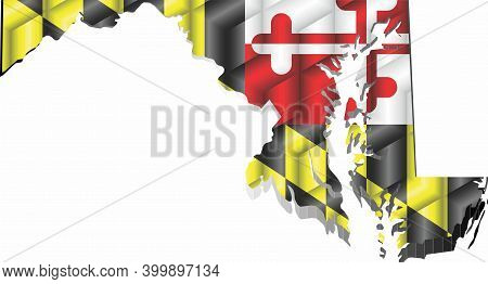 Maryland Map From Many Cubes - Illustration,  Three Dimensional Map Of Maryland