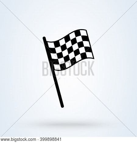 Checkered Racing Flag Sign Icon Or Logo. Chequered Flag Concept Illustration.