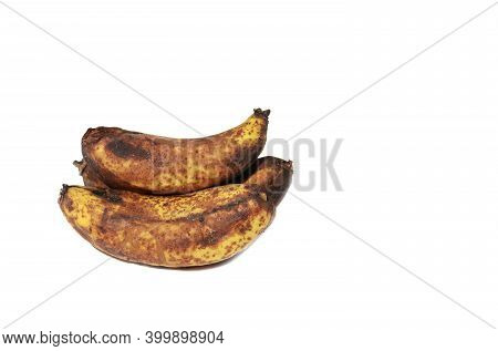 Rotten Banana Fruit Isolated On White Background With Copy Space For Texts Writing