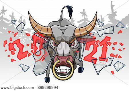 Cartoon Furious Bull With Nose Ring Breaking Glass With Numbers 2021 In Winter Forest