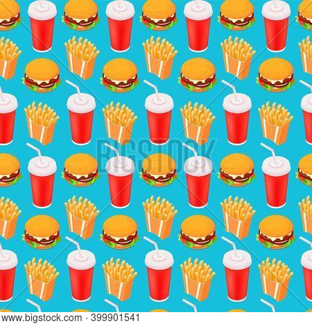 Fast-food Seamless Isometric Vector Pattern, Cola, Burger And French Fries
