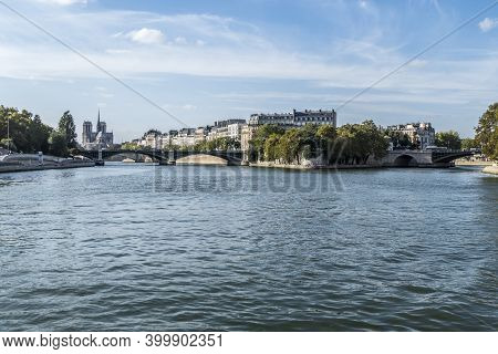 Beautiful Buildings Along The Banks Of The Seine Seen From The Boat In Paris