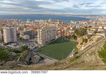 Marseille, France - January 31, 2016: Aerial View Of Di Giovanni Footbal Stadium In Marseille, Franc