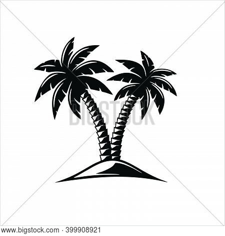 Coconuts Palm Tree Of Brazil Icon Isolated On White Background From Culture Collection. Coconuts Pal