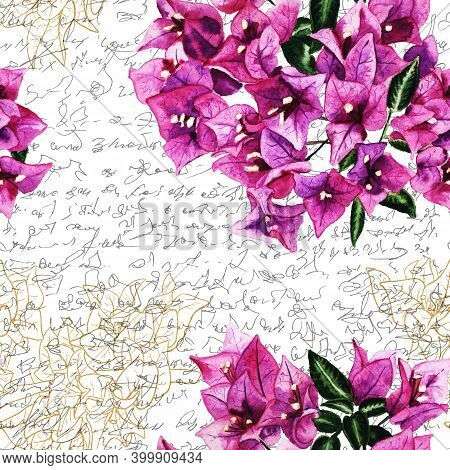 Seamless Pattern With Flowers Of Bougainvillea And Handwritten Text. Hand Drawn Watercolor Illustrat