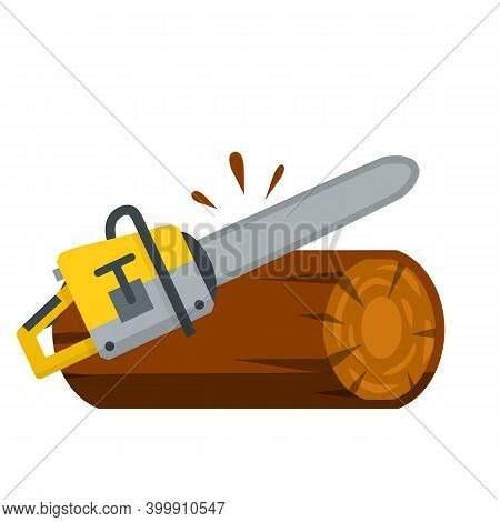 Saw Cuts Wood. Tool Of Lumberjack. Care Of Forest. Woodcutter Operation. Harvesting Of Logs. Rural O