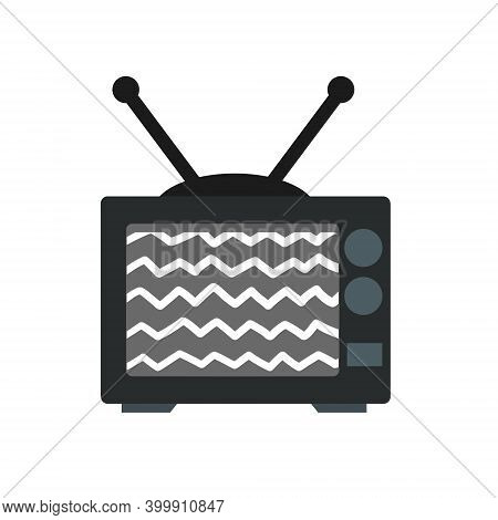 Old Tv. Problems With Broadcasting. Noise And Interference On The Screen. Home Appliance With An Ant