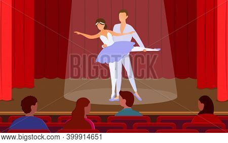Young Male And Female Ballet Dancers Performing On Stage. Ballerina With Partner. Concept Of Beautif