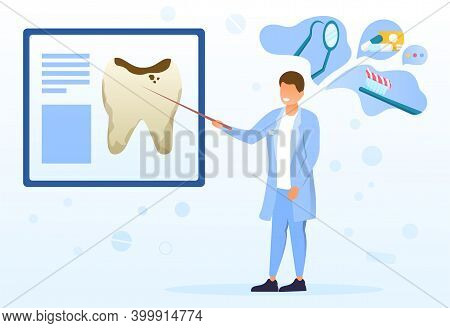 Male Dentist Showing Caries. Affected Mockup Tooth On Poster. Doctor Giving Recommendations On Denta