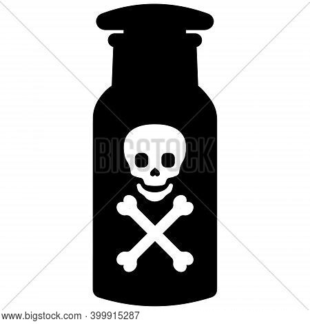 Toxic Poison Bottle With Death Sign Skull And Bones, Vector Laboratory Jar With Toxic Substance, Dea