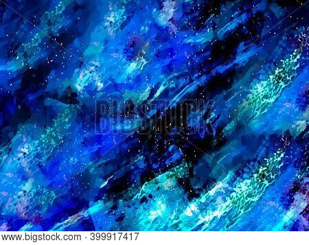 Blue Marble And Gold Abstract Background Texture. Indigo, Blue Marbling With Natural Luxury Style Li
