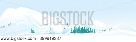 Snow Avalanche Slides Down In High Mountain On Spruce Forest, Natural Hazard Illustration Background
