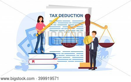 Male And Female Characters Making Tax Deducation. Concept Of Accounting, Payment, Financial Bill. Ta