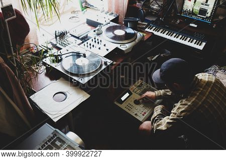 Moscow 08/13/2020.a Hip Hop Composer, Beatmaker Creates Beats On A Digital Production Controller Wit