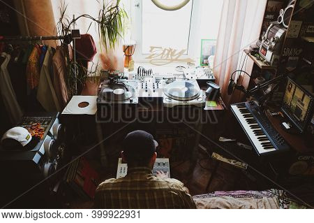 Moscow 08/13/2020. Hip-hop Composer, Beatmaker Creates Beats On A Digital Production Controller With
