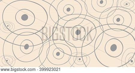 Set Sail Champagne And Noble Grey Background. Abstract Shapes, Circles, Hand Drawn Vector Illustrati
