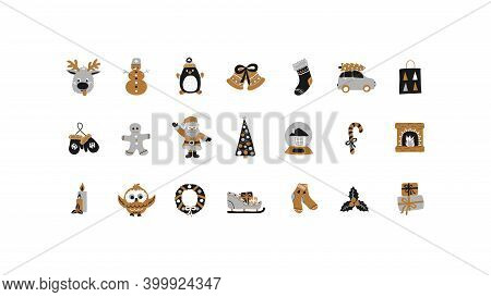 Merry Christmas And Happy New Year Set Of Holiday Elements In Hand Drawn Style - Gold, Black, Silver