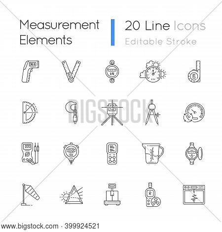 Measurement Elements Linear Icons Set. Measuring Physical Quantity. Infrared Thermometer. Dynamomete