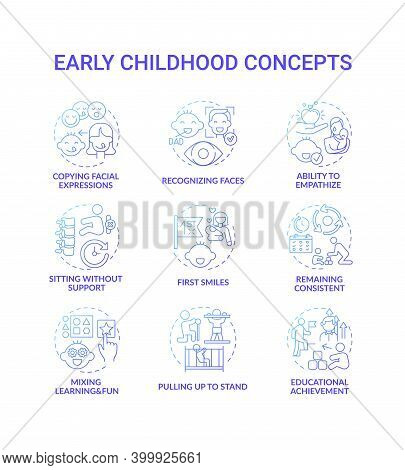 Early Childhood Development Blue Gradient Concept Icons Set. Developmental Milestones. Baby Growth.