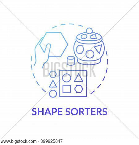 Shape Sorters Blue Gradient Concept Icon. Puzzle For Little Kid. Baby Toy. Intellectual Skills. Earl