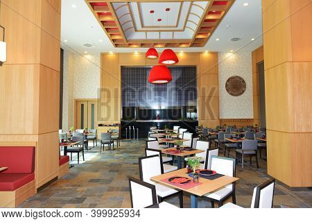 Antalya, Turkey - April 22: The Restaurant Interior Of Regnum Carya Golf And Spa Resort On April 22,
