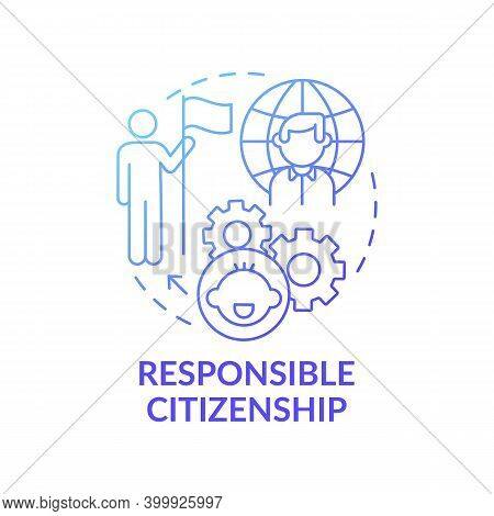 Responsible Citizenship Blue Gradient Concept Icon. Education For Children. Community Member. Early