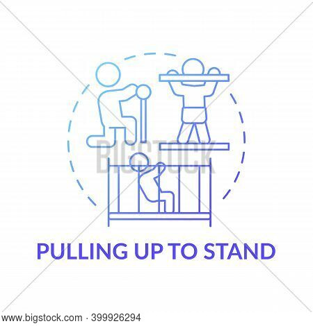 Pulling Up To Stand Blue Gradient Concept Icon. First Step To Walking. Baby Physical Ability. Early