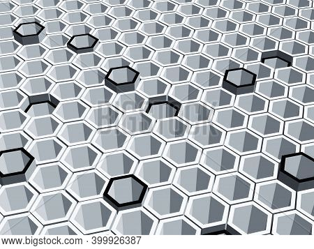 Abstract Geometric 3d Background Made Of Hollow Gray Hexagons. Some Black Hexagons Are Randomly Exte
