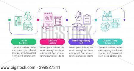 Creditor And Debtor Documentation Vector Infographic Template. Finance Presentation Design Elements.