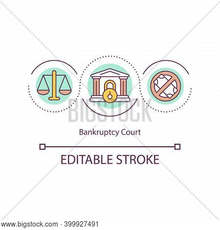 Bankruptcy Court Concept Icon. Financial Failure Matters Idea Thin Line Illustration. Personal And C