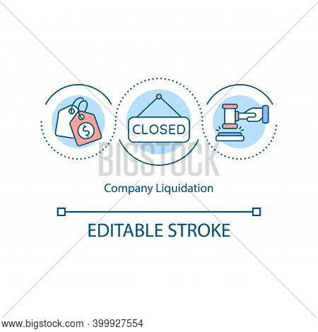 Company Liquidation Concept Icon. Closing Insolvent Business Idea Thin Line Illustration. Selling Of