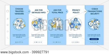 Online Shopping Safety Advices Onboarding Vector Template. Asking For Total Price. Transactions Secu