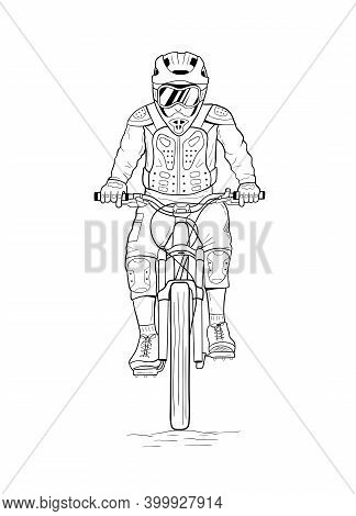 Line Art Drawing Of Man Riding Downhill Mountain Bike. Hand Drawn Vector Illustration Of Bicyclist