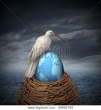 Global Peace and hope for no war in the middle east and the rest of the planet with a white dove building a nest with twigs and a fragile egg with the map of the world on a cloudy sky and ocean. poster