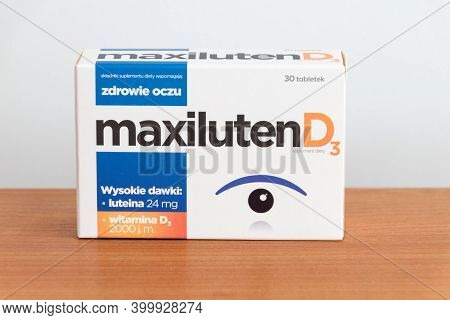 Pruszcz Gdanski, Poland - August 21, 2020: Maxiluten D3 Dietary Supplement With Lutein Supporting Th