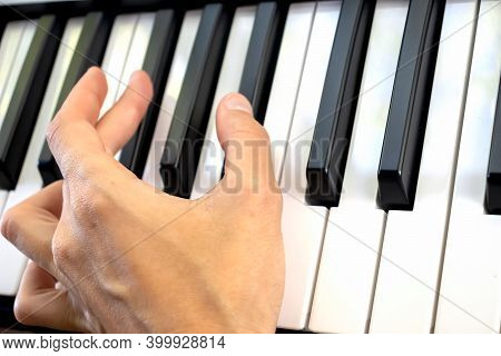 Fingers Play Chords On Piano Keys Playing Synthesizer Pianist Music Hobby.