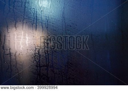Misted Glass. Condensation Drops On The Window. Background.