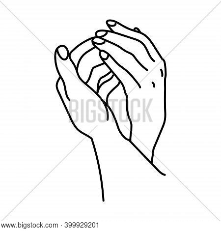 Hand In Hand, The Outlines Of Two Hands Small And Large, With Flying Together, A Symbol Of Love Or F