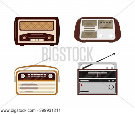 Set Of Retro Radios. Vintage Radio Collection Isolated On White Background. Old Models Vector Icons