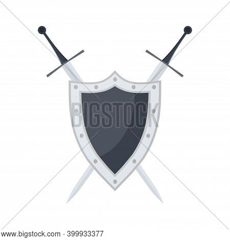Metal Medieval Shield And Crossed Swords Icon. Safeguard Sign. Security Symbol. Safety Label. Vector