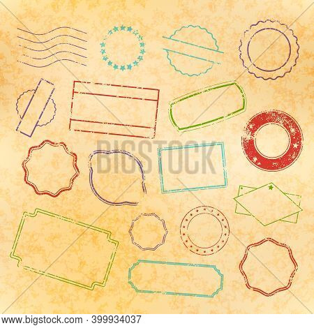 Set Of Retro Post And Border Stamps, Grunge Postmarks In Old Style On Yellow Paper