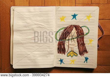 Seven Year Child's Drawing, Small Girl Imaging Something Magic.