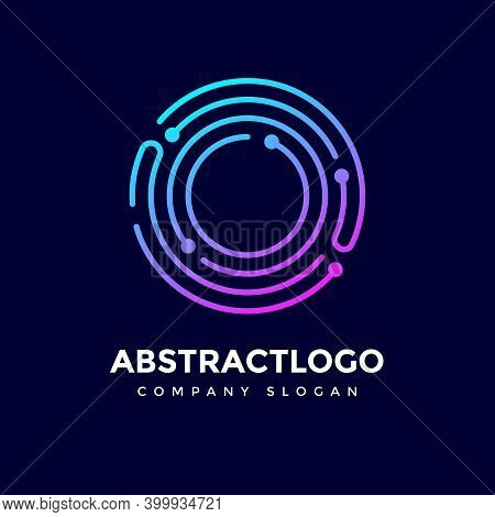 O Letter With Dots Logo, Digital Technology Lines O Logotype Corporate Design Vector.