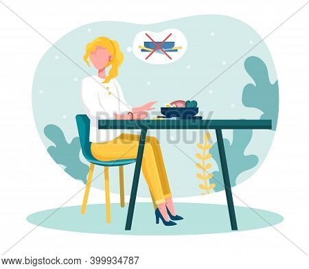 Young Blond Woman Doesnt Want To Eat. Female Character With Anorexia Sitting In Front Of Plate Full