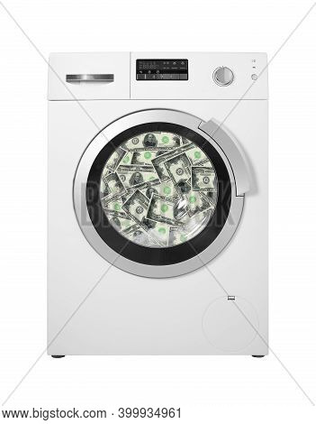 Household Appliances - Washing Machine To Wash Dollar Banknotes On A White Background