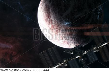 Inhabited Planet Against Background Of Deep Space Nebulae. Space Station Blurred In Motion. Science