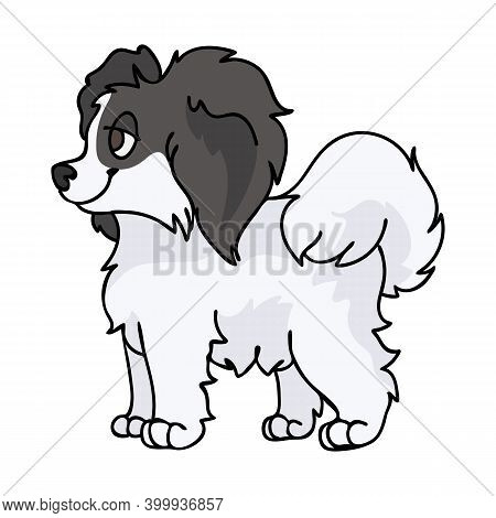 Cute Cartoon Papillon Sitting Puppy Vector Clipart. Pedigree Kennel Doggie Breed For Kennel Club. Pu