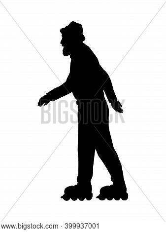 Silhouette Senior Man Grandpa Skating On Roller Skates. Active Grandfather. Illustration Symbol Icon