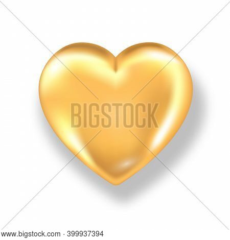 Golden Shiny 3d Heart With Shadow Isolated On White Background. Valentines Day Glossy Gold Metal Hea